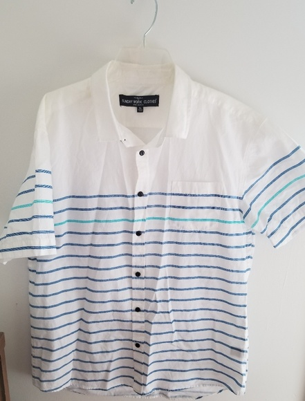 100% genuine new cheap hot sale SALE💙Sunday Work Clothes Fresh Stripped Shirt